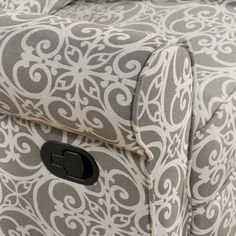 Rock your baby to sleep with ease in this nursery recliner chair. The heavy-duty steel frame and mechanism keep this glider recliner chair gliding and swiveling with ease. Gray and white patterning on
