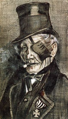 1882  Vincent Van Gogh   Orphan Man in Sunday Clothes with Eyes Bandage  Graphite and Lithographic crayon  46.5x27.5 cm  Cambridge, Frogg ARt Museum