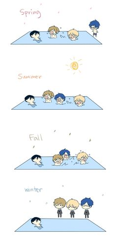 Haru....it's already winter....you're going to catch a cold if you swim during winter....