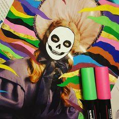 Playing with my pens #wip #reworked #magazines #skulls #skeletongirl #doodles #illustration #illustrationart #posca #poscapens #markers #lowbrow #lowbrowart