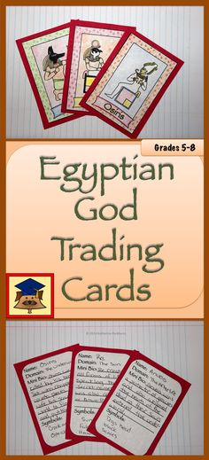 Egyptian God Trading Cards is a fun project designed to help students learn about the colorful characters in Ancient Egyptian Mythology. Once students have completed the cards, they are a great way to decorate a classroom or to show at an open house.