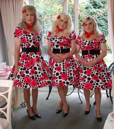 sissystockingsworld:  Ladies day!   Well how humiliating … all wearing the same…