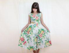 Vintage 1980s Dress - 80s Floral Dress - Summer Cotton Dress with Pockets