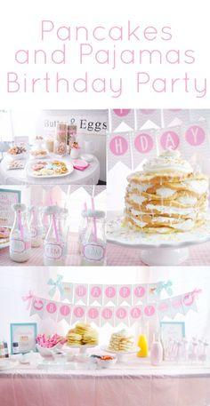 Pancake and pajamas birthday party girls birthday ideas pancake bar breakfast bar pancake and pjs party supplies party decorations birthday pajamas pink gingham party