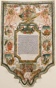 The Stieglitz Collection - Ancient marriage contract (ketubbah) - Rome, Italy, 1734