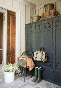 Mudroom Idea with vintage looking lockers