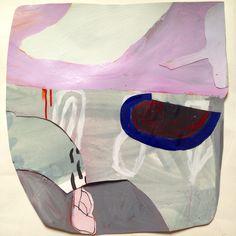 "Lavenderish Shield, 17""x17"", mm on paper collage, 2015.  Sarah Boyts Yoder"