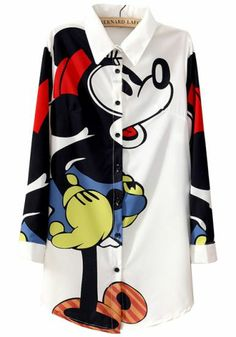 White Lapel Long Sleeve Mickey Print Blouse