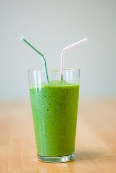 This green smoothis comes with good reviews.  I made one with 1/2 cup baby spinach, 1/2 cup kale, 1/2 pear, 3/4 cup of orange juice, and I forgot the 1 frozen banana.  Still tasted pretty good, but the greens were a little thicker than pulp.  I'll make it again, though.