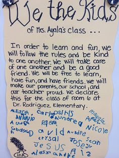 Classroom Declaration - do at the beginning of year, have children sign