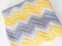 Couverture bébé chevron gris jaune blanc et léger au par PinkyRoo, $55.00