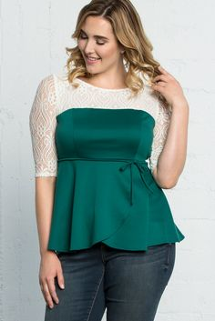 Our plus size Paris Peplum Top in Jovial Jade is one of those tops you'll love wearing to both casual and dressy events. Made in the USA. www.kiyonna.com