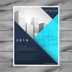 Business infographic : Moderne modèle de brochure avec un style géométrique bleu Vecteur gratuit
