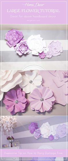 DIY Purple Room Decor - DIY Large Paper Flowers - Best Bedroom Ideas and Projects in Purple - Cool Accessories, Crafts, Wall Art, Lamps, Rugs, Pillows for Adults, Teen and Girls Room http://diyprojectsforteens.com/diy-room-decor-purple