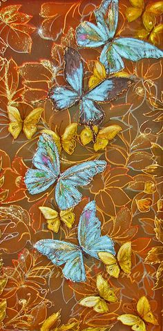 Влюбленные Бабочки - бабочки,цветы,на шелке,подарить,день рождения,в спальню