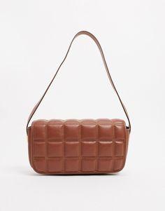 Quilted Shoulder Bags, Quilting Designs, Shoulder Strap, Asos, Hardware, Brown, Pockets, Dessert, Gold