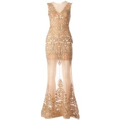 Zuhair Murad embellished evening dress ($10,485) ❤ liked on Polyvore featuring dresses, gowns, long dresses, zuhair murad, metallic, embellished evening dress, beige dress, metallic evening gowns and metallic long dress