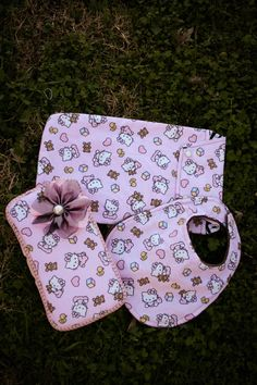 Cute Hello Kitty Baby Set - Includes Infant Hello Kitty Bib, Hello Kitty Diaper and Wipes Clutch, & Hello Kitty Wipes Case