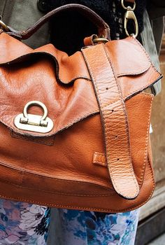 Lovely worn leather bag