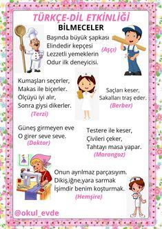 Preschool Art Activities, Preschool Education, Turkish Lessons, Nursery Rhymes, Kindergarten, Crafts For Kids, Drama, Herbs, Amigurumi