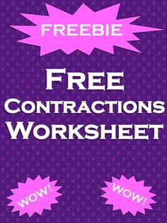 Contractions FREE: Free contractions worksheet! Review contractions with your students with this contractions worksheet. **This product contains an ORIGINAL informational text passage**Unlike some of my other products, this is a lesson. This is not for commercial use!