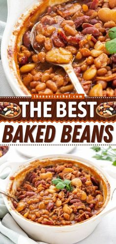 The perfect summer BBQ party idea for sharing! Cooked in a flavorful sauce, this homemade baked beans recipe with bacon is the BEST. Everyone will love this easy side dish, even the pickiest eaters! Simple Baked Beans Recipe, Best Baked Beans, Homemade Baked Beans, Bacon Recipes, Side Dish Recipes, Grilling Recipes, Easy Recipes, Side Dishes For Chicken, Best Side Dishes