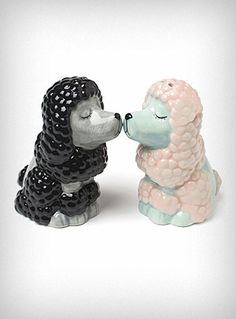 Kissing Poodles Salt and Pepper Shakers.