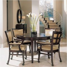 Image detail for -Modern round kitchen table and chairs with wheels.