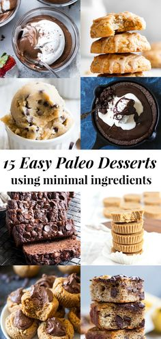 These delicious and easy paleo desserts are perfect when youre craving something sweet! These recipes use relatively minimal ingredients and are simple and quick to prep. All are gluten free dairy free refined sugar free and many are egg free and vegan. Paleo Sweets, Sugar Free Desserts, Easy Desserts, Dessert Recipes, Dessert Ideas, Dinner Recipes, Paleo Desert Recipes, Paleo Recipes Easy, Free Recipes