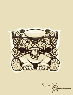 Okinawan Tattoos | okinawan shisa sketch - for tattoo......something I'm thinking about!!!!