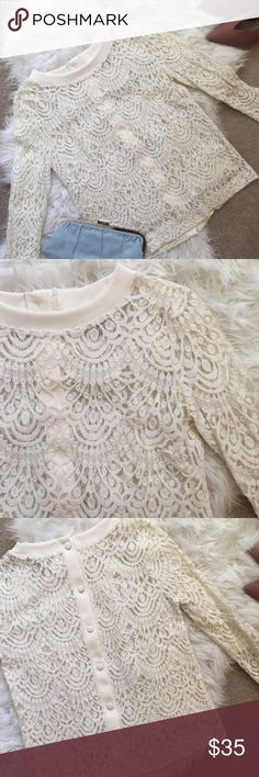 вanana repυвlιc lace ѕнιrт lace ѕнιrт ғroм вanana repυвlιc  Excellent like new condition  Sheer lace  Color cream / off white  Exposed button back   ⎨color мay ѕlιgнтly vary ғroм pнoтoѕ⎬ ❥10% oғғ вυndleѕ oғ 2 ☞no oғғerѕ on ιтeмѕ $10 & υnder ☞oғғerѕ нalғ oғғ wιll вe declιned ♡ℑнαикѕ fσя ѕнσρριиg αи∂ ѕнαяιиg Banana Republic Tops Blouses
