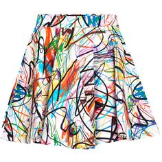 Jeremy Scott Scribbled Skirt ($195) ❤ liked on Polyvore featuring skirts, mini skirts, white cotton skirt, cotton a line skirt, cotton skirts, print mini skirt and pleated a line skirt