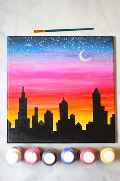43 Easy DIY Painting Ideas that'll Inspire Your (hidden) Inner Artist Simple Canvas Paintings, Easy Canvas Art, Small Canvas Art, Mini Canvas Art, Abstract Paintings, Canvas Draw, Cute Easy Paintings, Sunset Paintings, Small Paintings