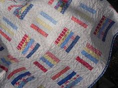 Counting by Fives.  This would make a quick and easy way to use up scraps and make a quilt top.