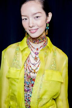 Jewel tone accessories & yellow sheer. / 50 of the Best Backstage Moments from the Spring 2015 Shows – Vogue