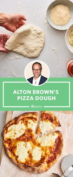 Alton Brown loves this pizza dough recipe so much, he made it every stop of his Alton Brown Live tour cities over the course of 2 years)! In fact, the dough No Yeast Pizza Dough, Best Pizza Dough Recipe, Pizza Dough Recipe With Active Dry Yeast, Cracker Crust Pizza Dough Recipe, Pizza Dough Thin Crust, Italian Pizza Dough Recipe, Alton Brown Pizza Dough, Crispy Pizza, Recipes