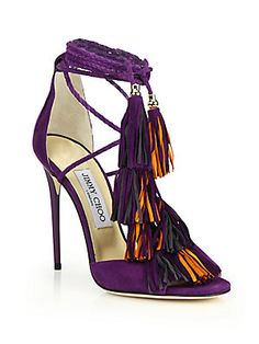 Jimmy Choo Mindy Suede Lace-Up Tassel Sandals