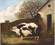 British School, 19th Century, A sow in a farmyard