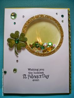 Little Scrap Pieces: Wishing you the luckiest St. Patrick's Day ever : My Creative Time : Shaker card
