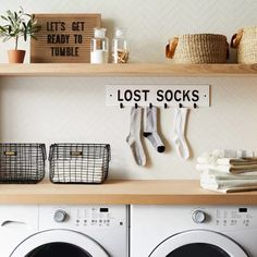 Awesome Farmhouse Laundry Room Decoration Ideas Wall Sign Lost Socks White - Hearth & Hand with Magnolia Laundry Room Remodel, Laundry Room Organization, Laundry Room Design, Organized Laundry Rooms, Laundry Decor, Shelves For Laundry Room, Ikea Laundry Room Cabinets, Laundry Room Baskets, Pantry Organisation