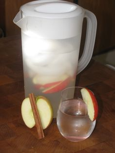 Makes one big pitcher, re-fill water 3-4 times before replacing apples and cinnamon-    1 Apple thinly sliced, I like Fugi but pick your favorite    1 Cinnamon Stick    Drop apple slices in the bottom of the pitcher (save a few to drop in your glass later) and then the cinnamon stick, cover with ice about 1/2 way through then with water. Place in the fridge for 10 minutes before serving.