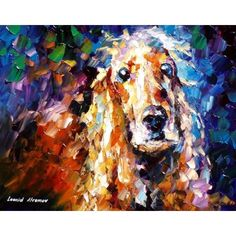 "REAL FRIEND-  PALETTE KNIFE Oil Painting On Canvas By Leonid Afremov -  Size 24""X30""  Dog Cocker Spaniel?"