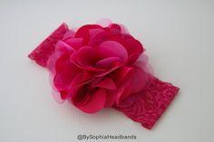 Hot Pink Flower Headband Pink Baby Headband Big by BySophiaBaby
