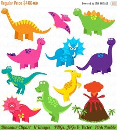 Our Dinosaur Clipart set includes 11 PNG files with transparent backgrounds, 11 JPG files with white backgrounds and 1 Adobe Illustrator vector file.