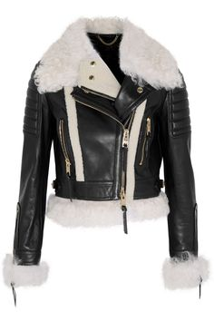 Burberry Prorsum | Cropped shearling-trimmed leather biker jacket | NET-A-PORTER.COM