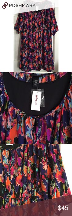 Abstract Print A-Line Dress LANE BRYANT / Abstract Print A-Line Dress, NWT - PLUS SIZE, US Size 26/28 - Scoop neckline with front one button keyhole - Elastic waist  - Fully lined (except for sleeves) - A-line skirt & elbow length sleeves - No stretch (slight stretch in lining), 100% polyester ✅ Brand new with tags ✅ NO trades / NO low-balling ✅ List price is fair and highly discounted✌️ Lane Bryant Dresses