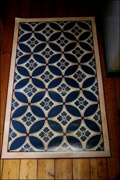How to make a floor cloth. Change It with a Floor Cloth Painted Floor Cloths, Stenciled Floor, Painted Rug, Painted Floors, Painted Furniture, Linoleum Flooring, Brick Flooring, Concrete Floors, Kitchen Flooring