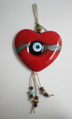 TURKISH RED CERAMIC RED HEART EVIL EYE NAZAR WALL HANGING