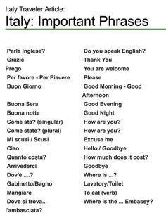 Italy : Important Phrases #travel #italian #backpacking