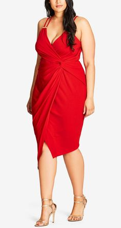 Plus Size Faux-Wrap Bodycon Dress